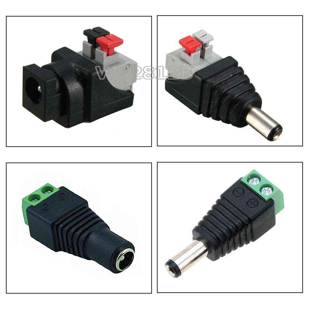 Free Shipping 5~100pcs DC Connector For LED Strip Free Welding LED Strip Adapter Connector Male/Female Led Strip Connector