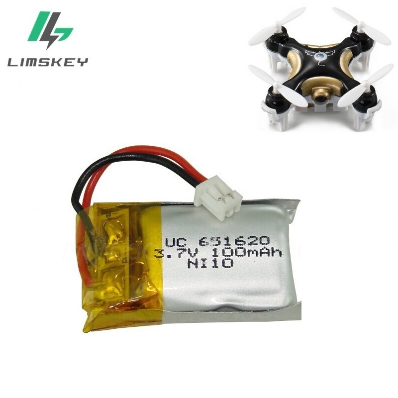 1S 3.7V 100mAh Lipo Battery For Cheerson CX10 CX-10 CX-10A RC Quadcopter Spare Parts 3.7V 100mAh Li-po Battery 1.25mm Plug 1pcs 10pcs lot cx 10 3 7v 100mah battery for cheerson cx 10a fq777 124 wltoys v272 v282 v292 hubsan q4 h111 mini rc quadcopter parts