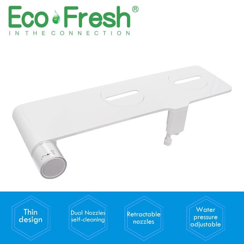 Ecofresh Non-электрическое биде сиденье на унитаз или биде Self-Cleaning насос с двойными соплами-Fresh водное Биде опрыскиватель механический Shattaf мойка