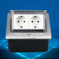 250V 16A EU German Type 2 Slot Ground Floor Socket Switch Power Outlet with Lid