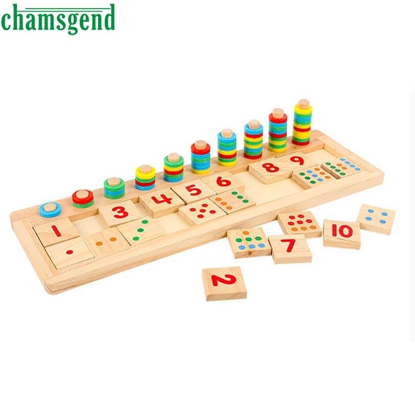 Chamsgend красочные головоломки учебного пособия Математика количество деревянная доска дошкольное игрушки малыш Прямая поставка S30