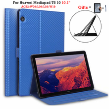 Case For Huawei Mediapad T5 10 AGS2-W09/W19/L03/L09 10.1'' Tablet PC Stand cover  For Huawei T5 10 Pu Leather Case + Films mingfeng pu leather cover case for huawei t5 10 protective smart case for ags2 w09 l03 w19 10 1inch tablet pc case covers