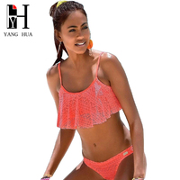 YANG HUA New 2018 Solid Color Bikini Set Sexy Low Waist Beach Swimwear Women Lace Multicolor