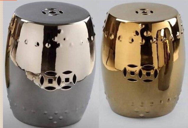 Oro argento sgabello da giardino in ceramica in oro argento