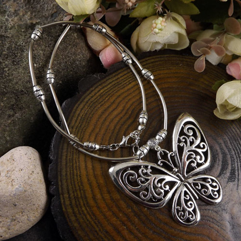AIFEILI Sale Manufacturers Selling Bohemia Ethnic Jewelry Women Fashion Leaves Tibetan Jewelry Retro Butterfly Flower Necklace