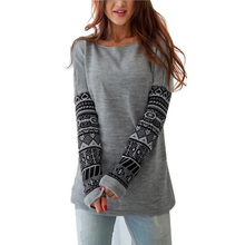 Vintage Casual O-Neck Pullover Tops Slim Hoodies Long Sleeve Geometric Printed Sweatshirt Long Hoodies Cotton Thickening 828745