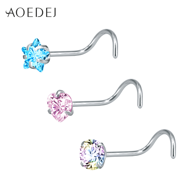 Chakra Dazzle Top 20g Nose Ring Stud L Shape Body Piercing Jewelry 316l Steel