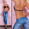 Women Legging Fall Fashion Sexy Denim Pantalones Seamless Jeans Look with Diamonds Leggings