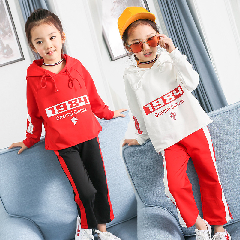2017 new Autumn 2pcs wear Girls Kids Hooded Clothes Sets sports suit set clothing children outerwear coat tracksuit clothes