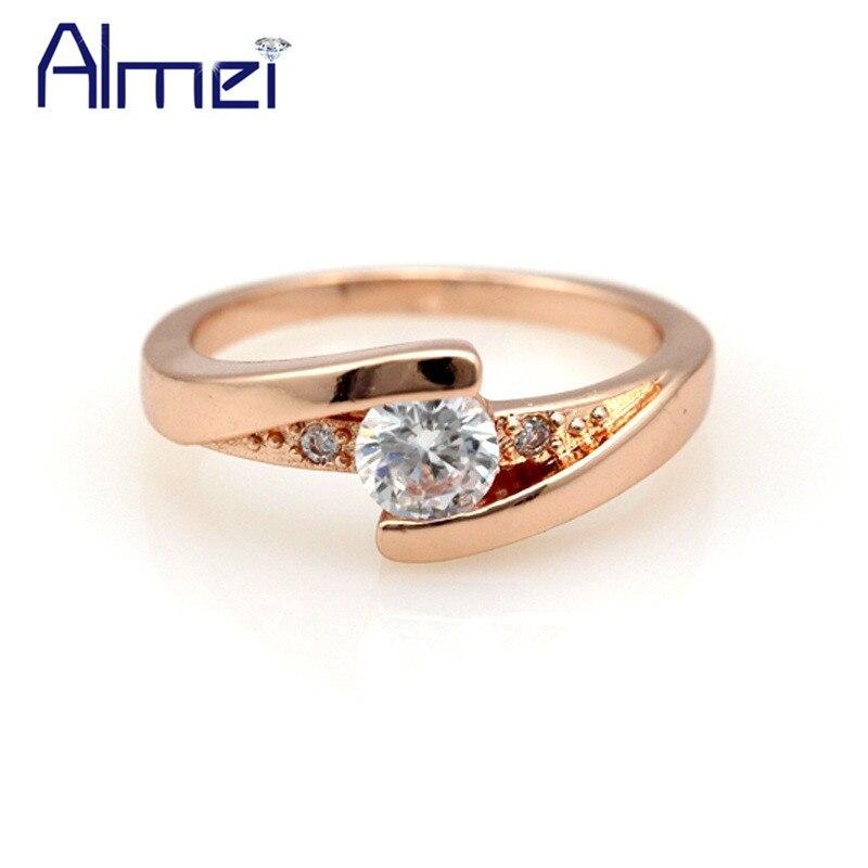 d8293fdfaf1ce Almei 15% Off روز الذهب لون حجر الراين التزام خاتم الزفاف خواتم للنساء  مجوهرات الزفاف الكلاسيكية كريستال Anillos J045