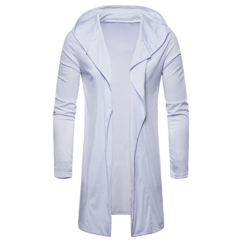 Oeak Cardigan-Coat Hooded Trenchs Long-Sleeve Men's Casual New Fashion Solid Slim Loose