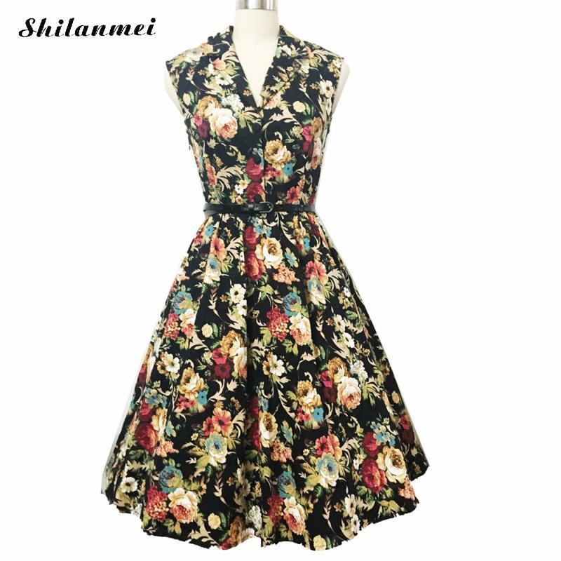 004530298a7497 Frauen Robe Pin Up Kleid Retro floral bedruckte Vintage 90 s Schaukel kleid  mit gürtel Sommer weibliche party Kleid Vestido plus größe S 4XL in Frauen  Robe ...