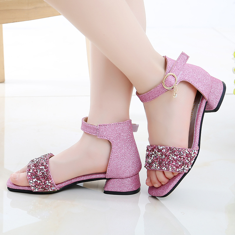 Kid Shoes High Heel Summer Girls Sandals Big Kids Princess Shoes For Children Glitter Sandals 4 5 6 7 8 9 10 11 12 13 14 Year
