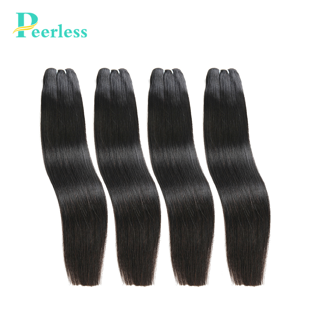 PEERLESS Hair Peruvian Straight Hair 4 Bundles Human Hair Extensions Double Weft Virgin Hair Weave Bundles Natural Color