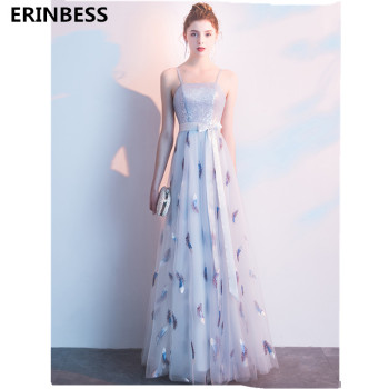 2019 Vestido De Festa Strapless Prom Dresses Spaghetti Strap A-Line Silver Blue Tulle With Bow Prom Dress Formal Party Gowns