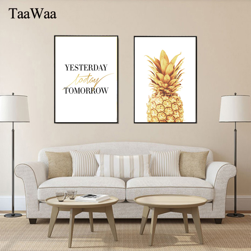 TAAWAA Motivational Poster Quote Gold Pineapple Picture Wall Art Canvas Minimalist Print Painting Nordic Room Decoration