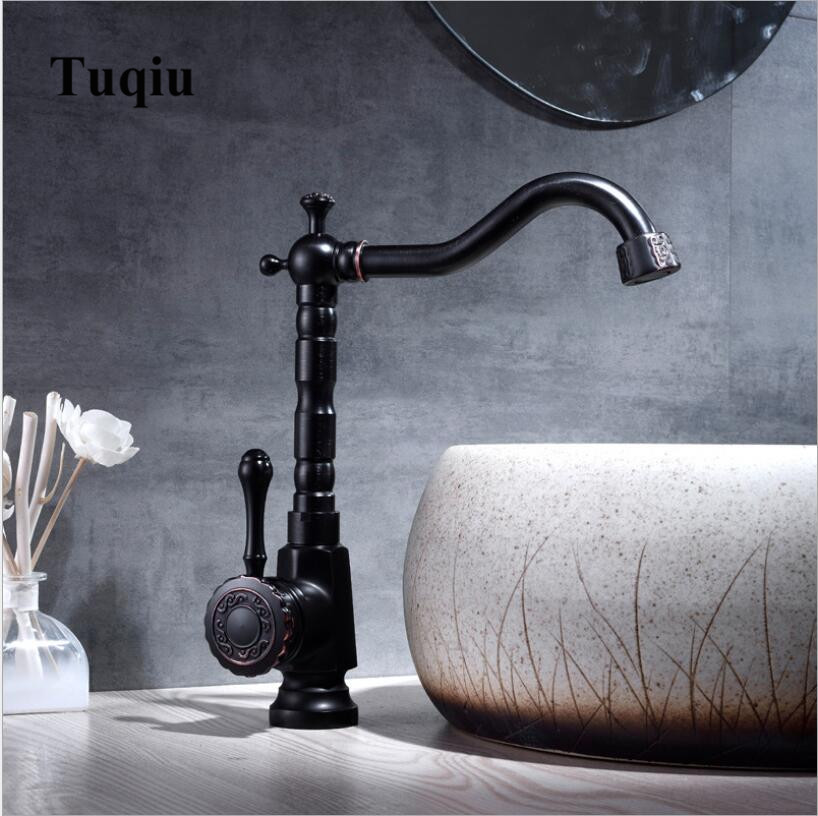 Basin Faucet Black Brass Retro Bathroom Sink Faucet Single Handle Swivel Spout Kitchen Deck Vessel Mixer Tap Torneira lavatorio