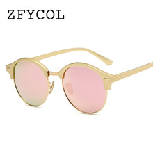 ZFYCOL Fashion Ladies Round polarized Mirror Sunglasses Retro Sun glasses For Women Brand Original Glasses Clear Eyewear