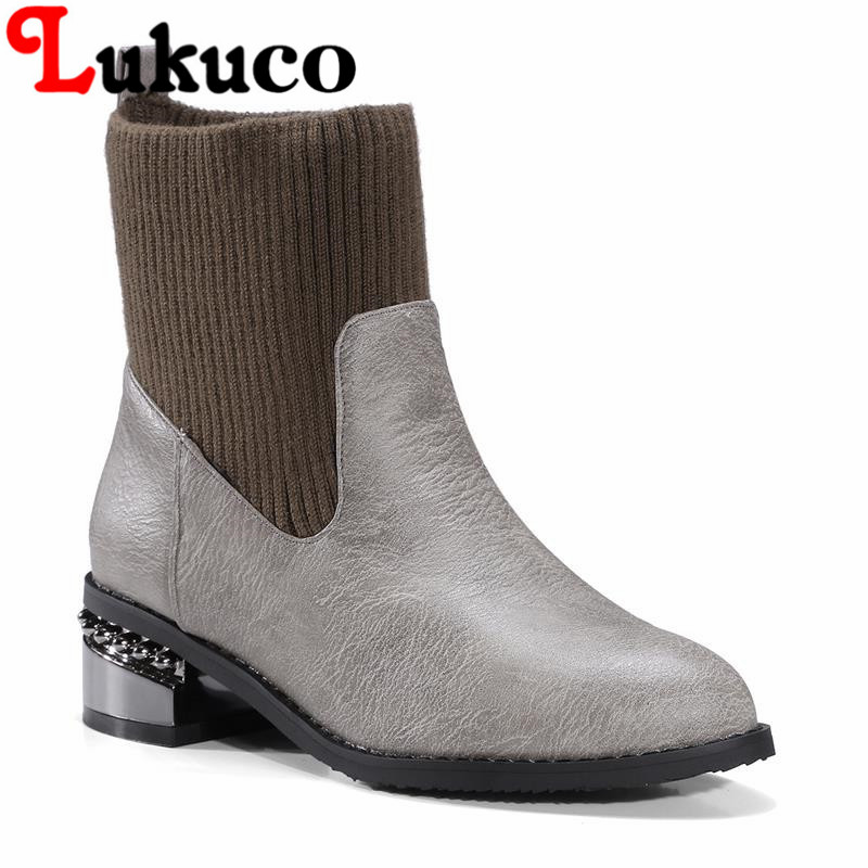 2018 popular EUR size 37 38 39 40 41 42 43 44 45 46 47 48 Lukuco women boots elegant style high quality lady shoes free shipping цена