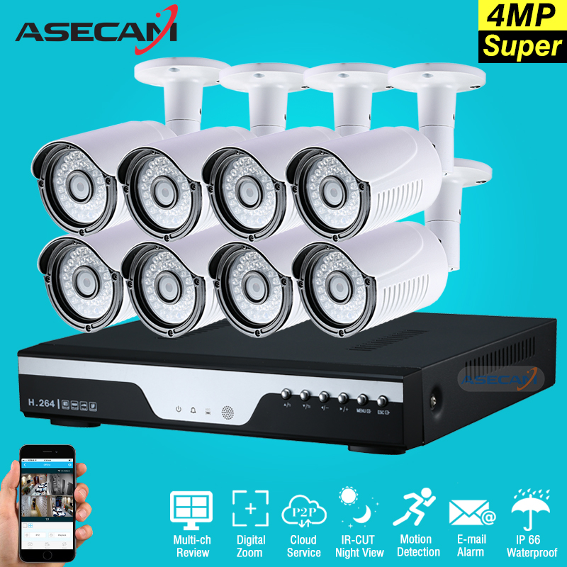 Super 4MP 8CH HD CCTV DVR AHD Outdoor Security Camera System Kit P2P Surveillance Motion ...