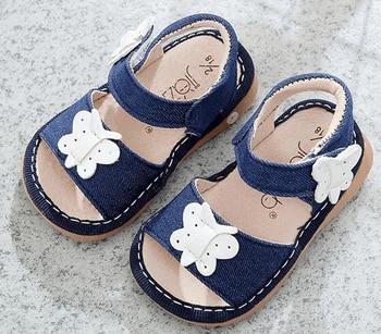 3fd5351a Zapatos para niñas chirriantes 1-3 años zapatos de verano hechos a mano para  niños