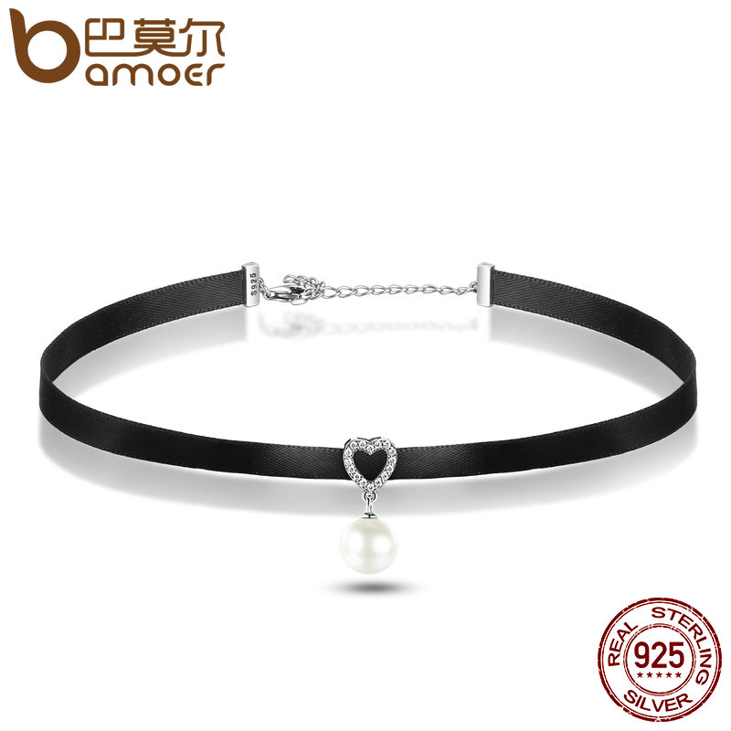 цена на BAMOER 925 Sterling Silver & Black Braid Heart Pendant with Clear CZ Choker Necklace For Women Chocker Colar Jewelry SCN070