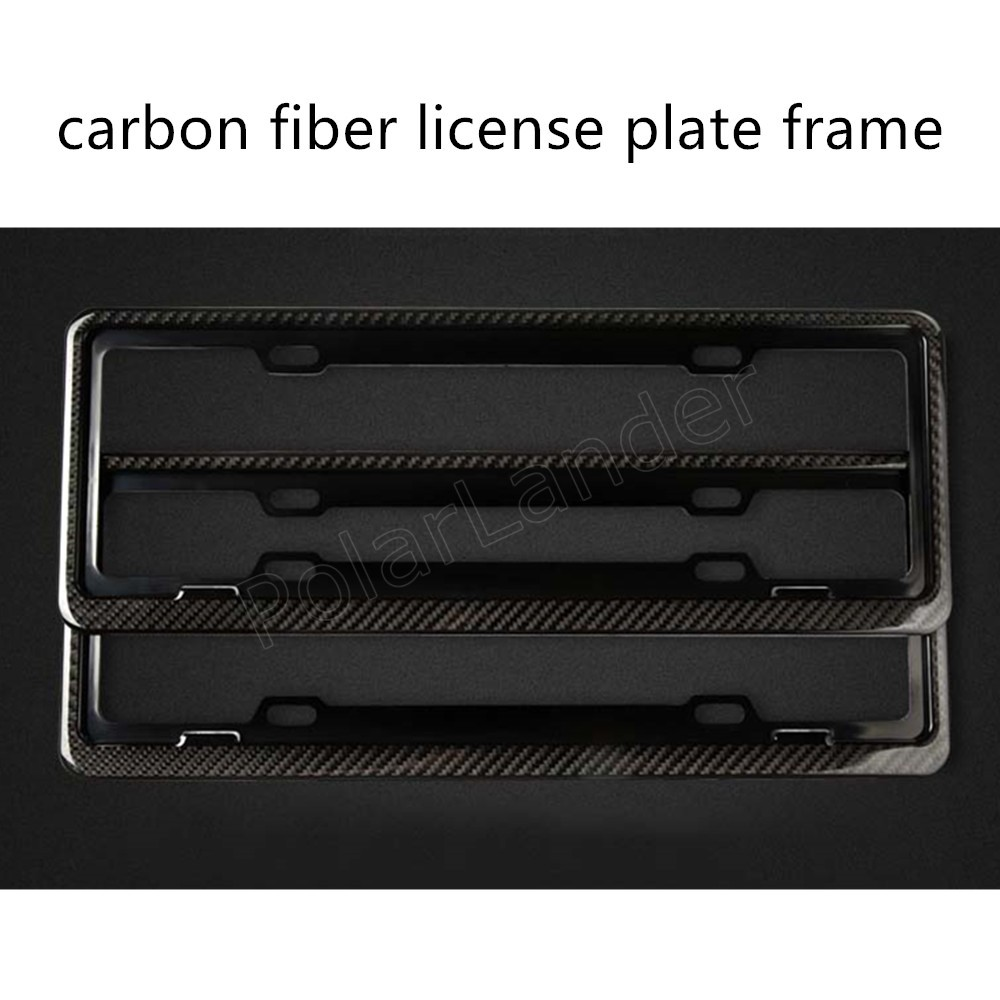 hot sale 2 pieces car license plate frame holder carbon fiber racing number plate holder adjustable