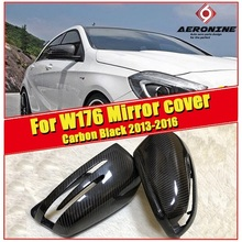 W176 A-Class Wing Door Mirror Cover 2Pcs True Carbon Fiber Black 1:1 Replacement For Mercedes A180 A200 A250 A45 Style 2013-2016