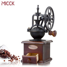 цена MICCK Vintage Coffee Grinder Ceramic Burr Core Wooden Coffee Bean Mill Grinding  Ferris Wheel Design Manual Grinding Machine