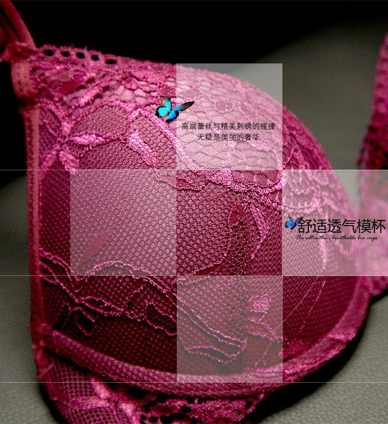 Sexy Lace Bra Set Women Underwear Set Push Up Bra Set Sexy Lcae Briefs Lingerie 3/4 Cup 70B 75B 80B