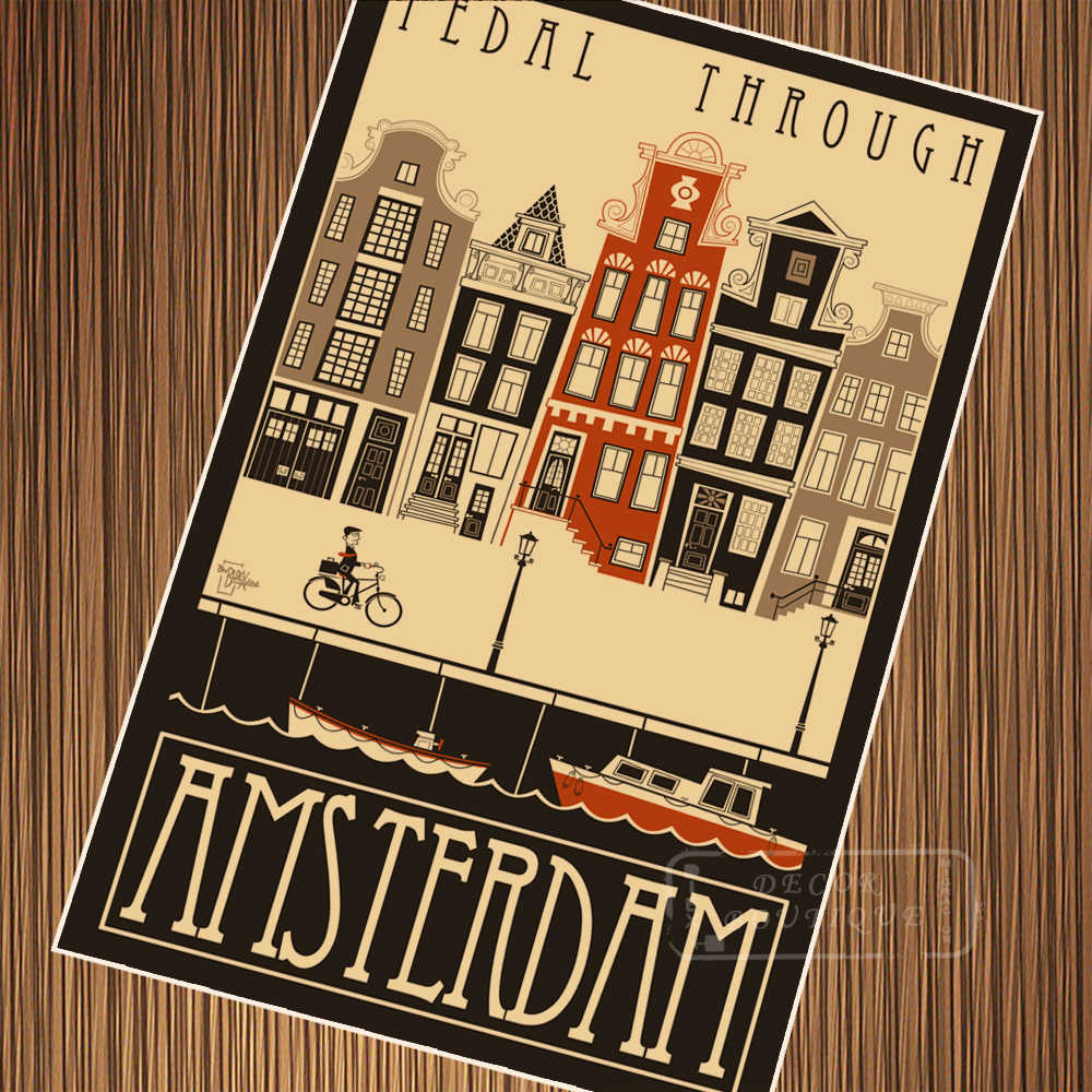 eedd3978857 ... Ride Bike Travel Amsterdam Netherlands Posters Vintage Retro Kraft Poster  Canvas Classic Wall Stickers Home Decoration