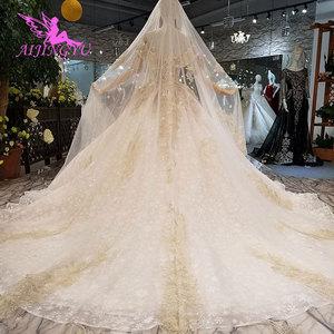 Image 4 - AIJINGYU שנהב שמלת שמלות שנזן בציר 3D יוקרה כלה תחרה מימי הביניים ייחודי שמלת כלה זולה שמלות ליד לי
