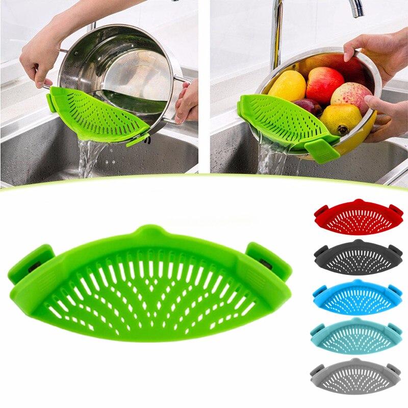 Silikon Topf Filter Küche Clip Topf Filter Ablauf Überschüssige Flüssigkeit Ablauf Pasta Gemüse Kochgeschirr Küche Werkzeuge