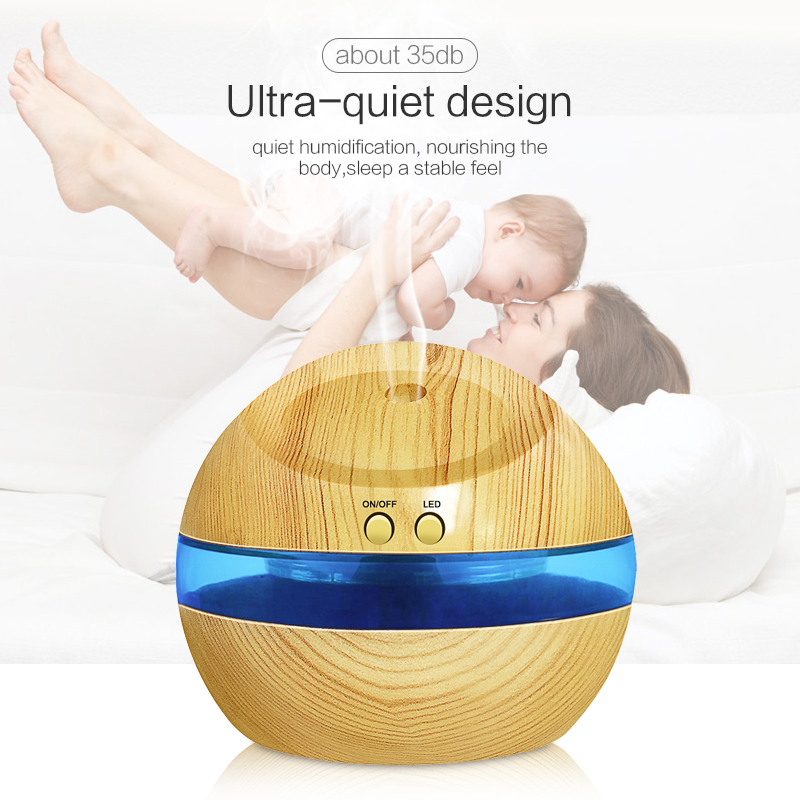 USB Ultrasonic Humidifier 300ml Aroma Diffuser Essential Oil Diffuser Aromatherapy mist maker with Blue LED Light Wood grain in Humidifiers from Home Appliances