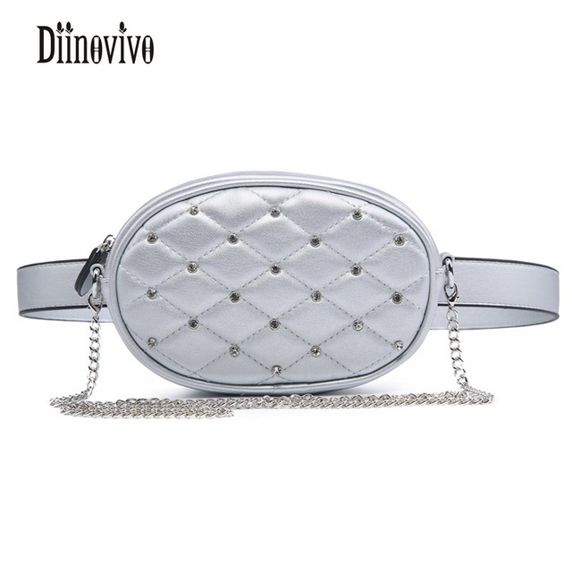 DIINOVIVO Fashion Diamond Waist Packs High Quality PU Leather Shoulder Bags Small Phone Women's Bags Multifunction Bags DNV0297