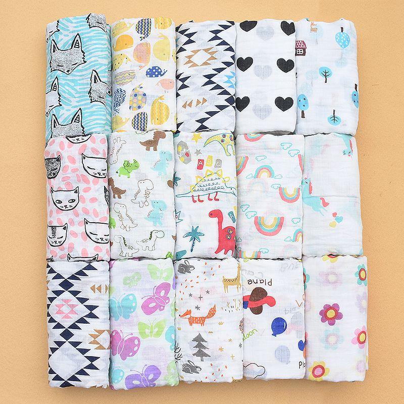 PINK SWAN100%Muslin Cotton Blankets Dinosaur Unicorn Patterns Multi-use Newborn Swaddle Muslin Infant Gauze Both Towel Baby Warp