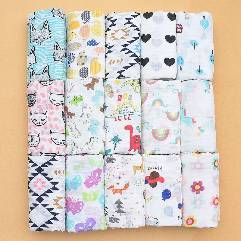 Rosa SWAN100 % algodón muselina mantas dinosaurio unicornio patrones múltiples uso recién nacido Swaddle muselina gasa bebé tanto toalla bebé urdimbre