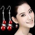 Мода 925 серебряные серьги красный черный двойной естественно агат женщины полноценно серебряные серьги ну вечеринку ювелирные изделия оптовая продажа