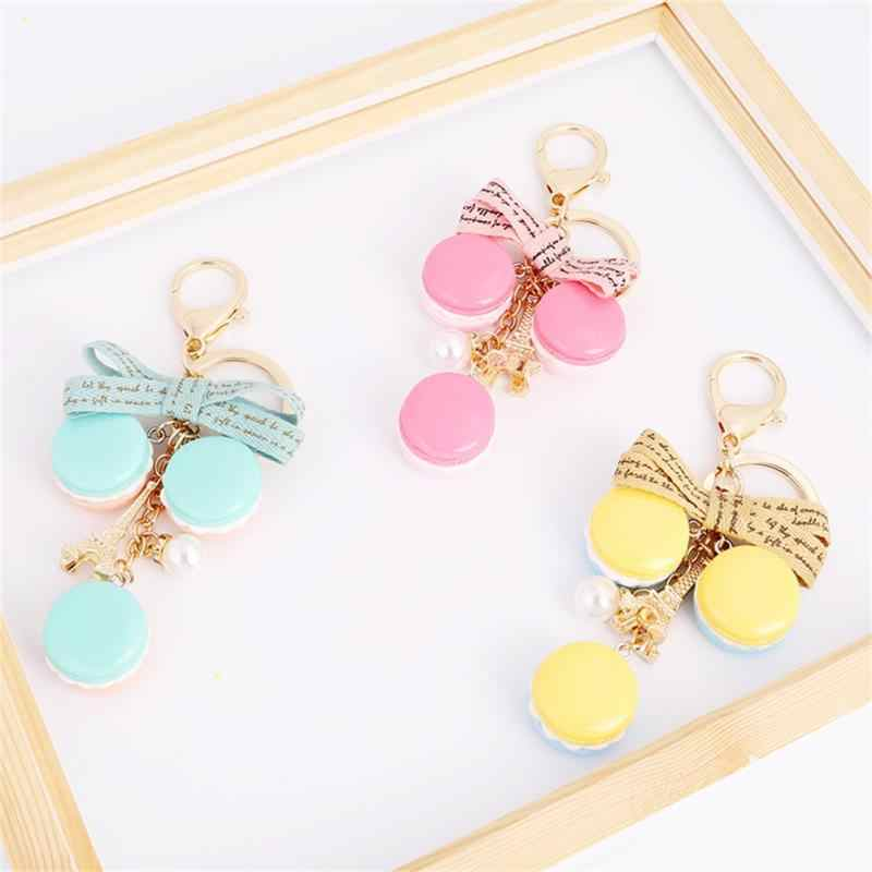 8e27e76c3fa4 2018 Resin Macaron Keychain Novelty Key Chain Women Macaroon Bag Charm  France LADUREE Effiel Tower Keychains