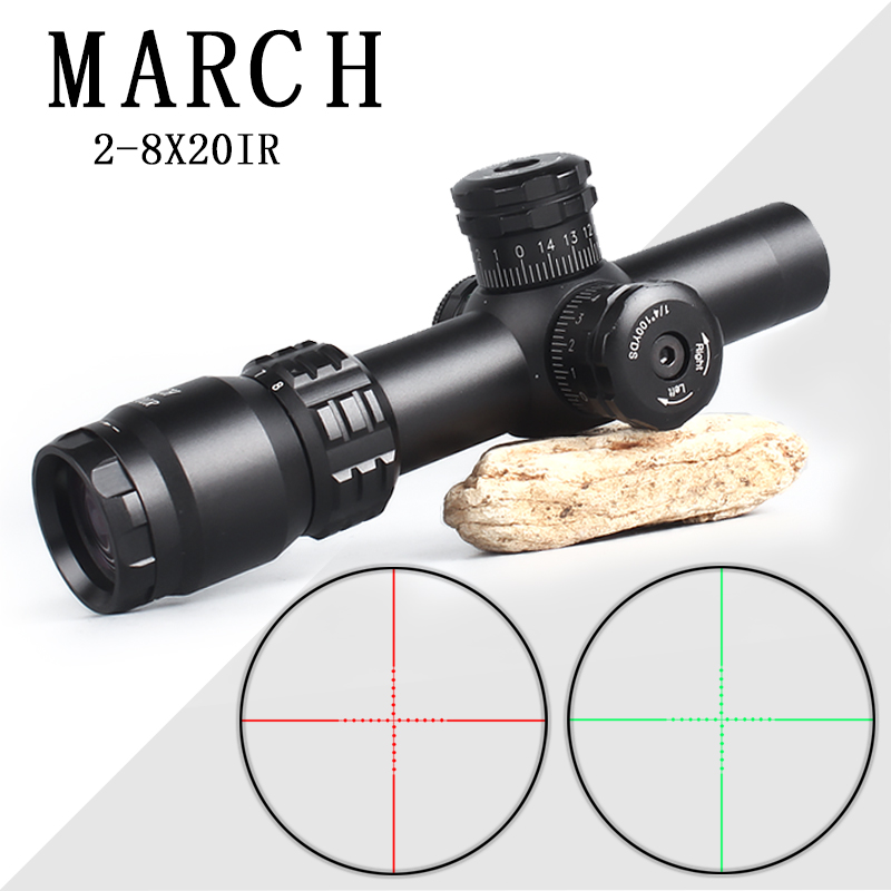 Brand March 2-8X20 Hunting Optics Compact Riflescope Tactical Optical Sights Hunting Scopes With 11mm/21mm Mount Quick Aiming