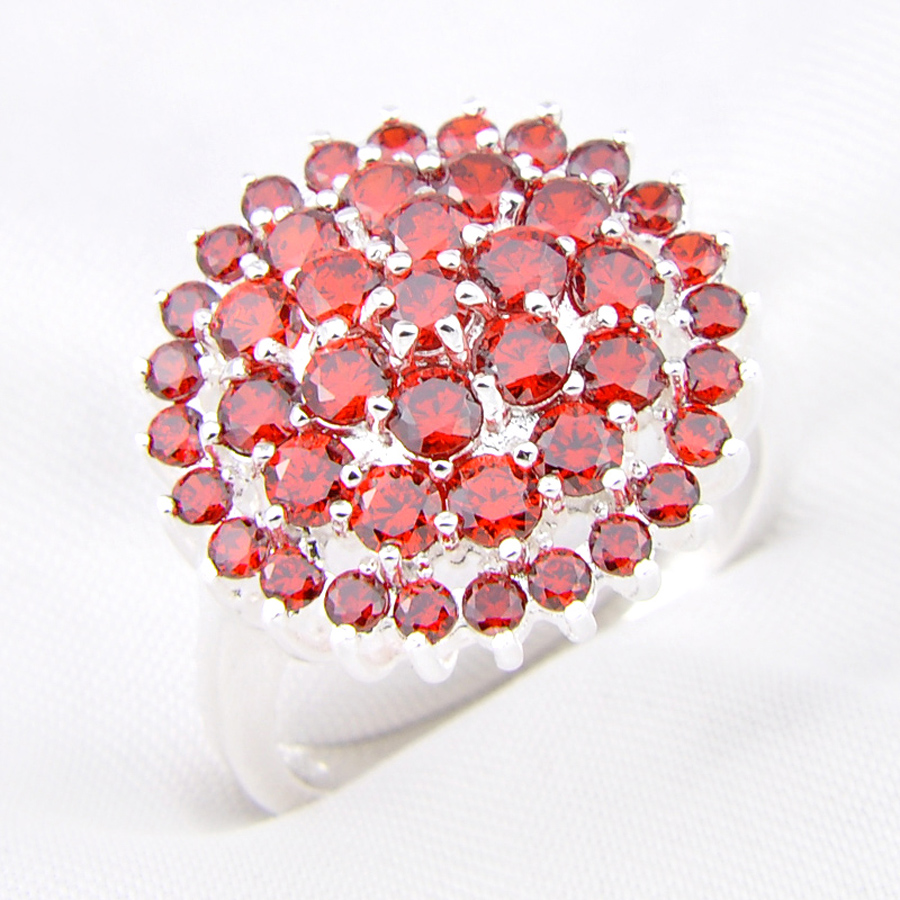 Promotion Jewelry Luckyshine White CZ Around Red Quartz Silver ...