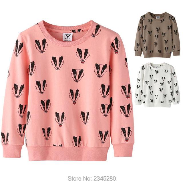 T-Shirts Para Meninas Meninos Camisola Texugo Impressão Camisa Crianças Camisola Crianças Bobo Choses Roupas Ano Novo Primavera 2017 Tops 3-10Y