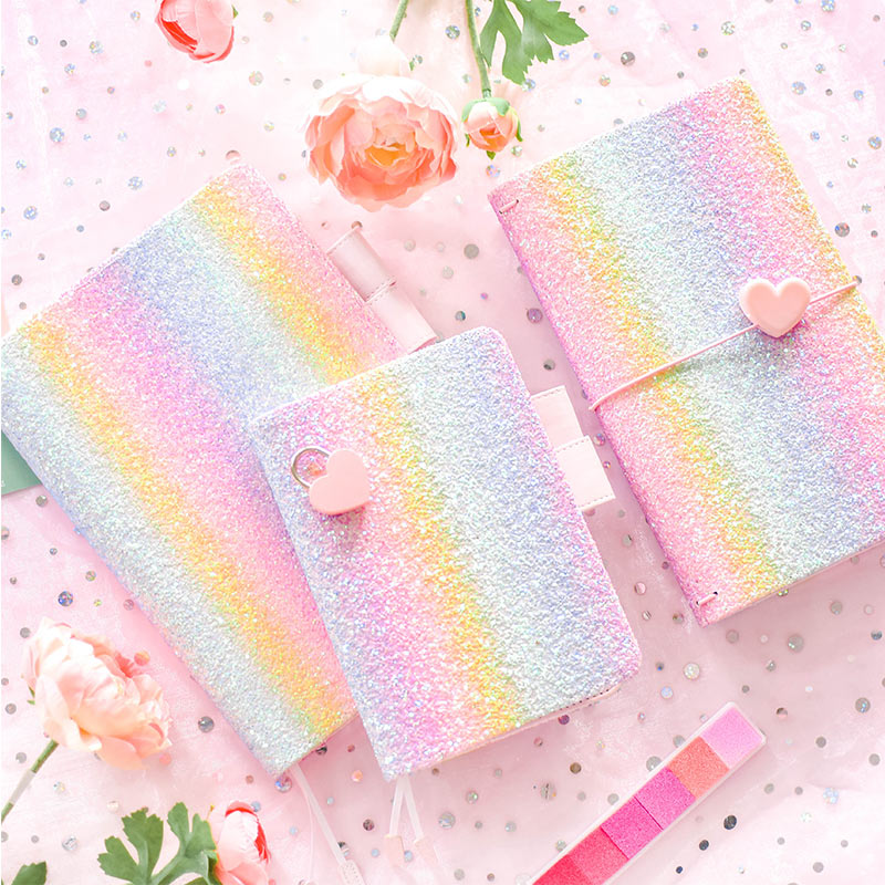 2018 Yiwi  Rainbow Sequin Notebook A6 A5 H Travelers Notebook Diary Portable Journal Dotted Notebook Planner Agenda Organizer