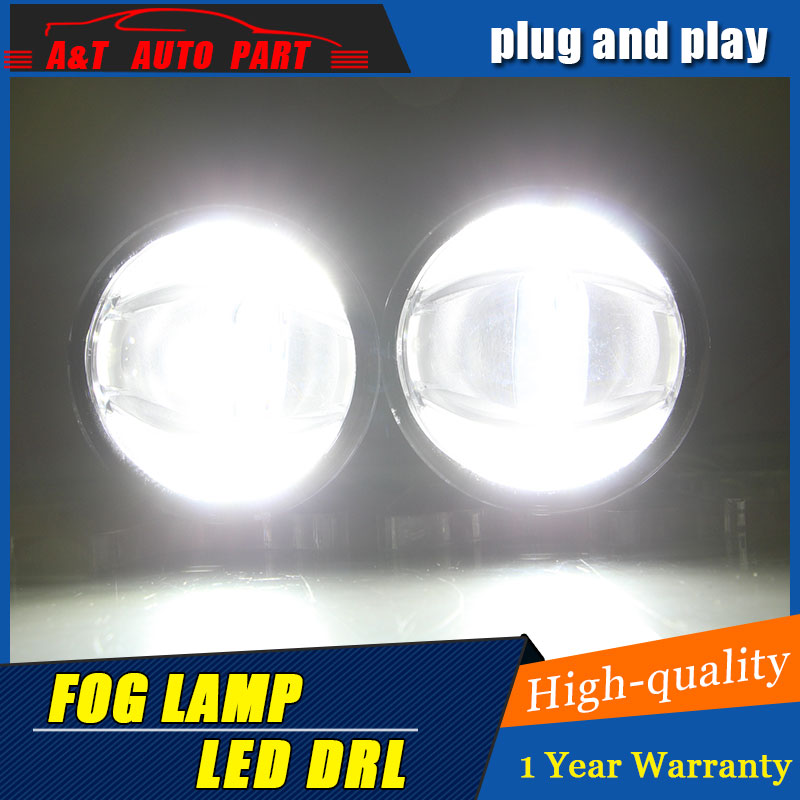 JGRT Car Styling Angel Eye Fog Lamp for Peugeot LED DRL Daytime Running Light High Low Beam Fog Automobile Accessories