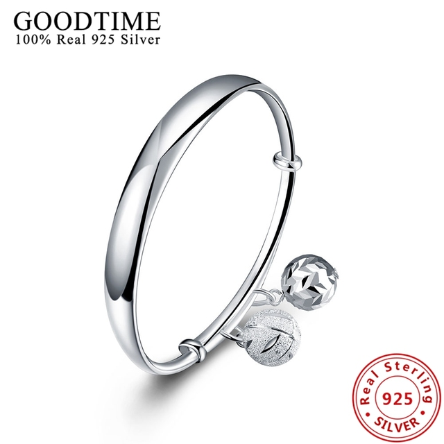 sterling-silver-jewelry Fashion Round Beads Pendant push-pull Bangle Pure 925 Silver Bracelets Bangles For Women Jewelry GTB008