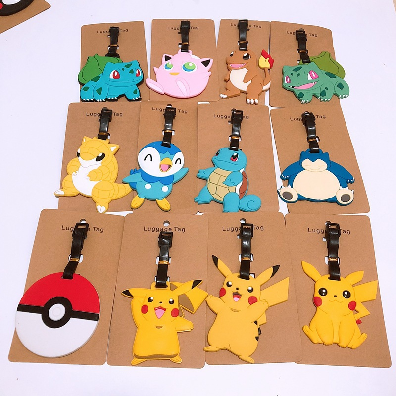 Travel Accessories Pikachu Luggage Tag Animal Cartoon Silica Gel Suitcase ID Addres Holder Baggage Boarding Tags Portable Label