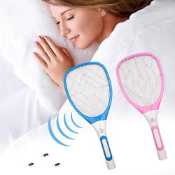 Behogar 3 Layer Grid Multi-function USB Rechargeable LED Electric Fly Swatter Mosquitoes Insects Racket Killer Racquet