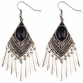 Bohemian Gypsy Turkish Vintage Silver Gold Fashion Earring Inlay Resin Gem Tassels Hook Long Earrings For Women Fashion Jewelry