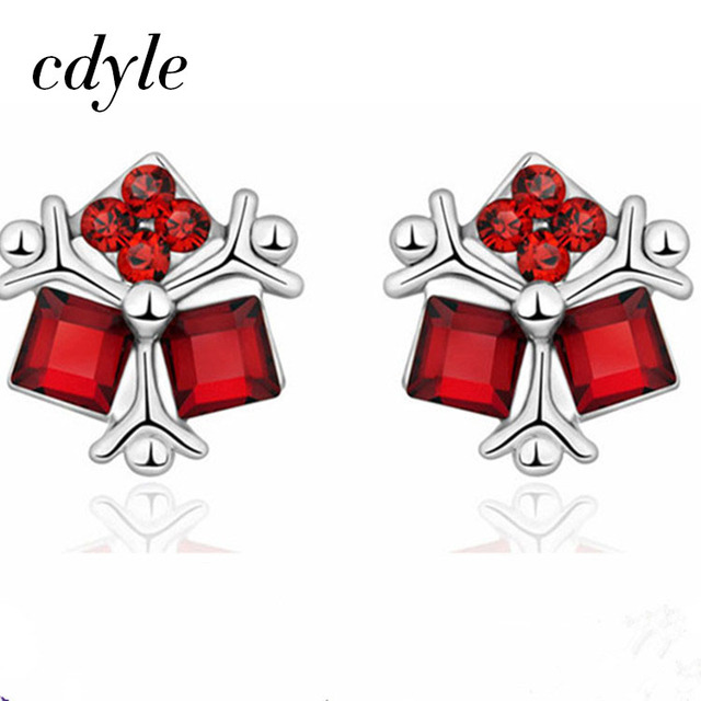 Cdyle Crystals from Swarovski Stud Earrings Women Earring Fashion Jewelry  Red Color Elegant Red Crystals Bijoux Female Lady Gift b0c50a237d43