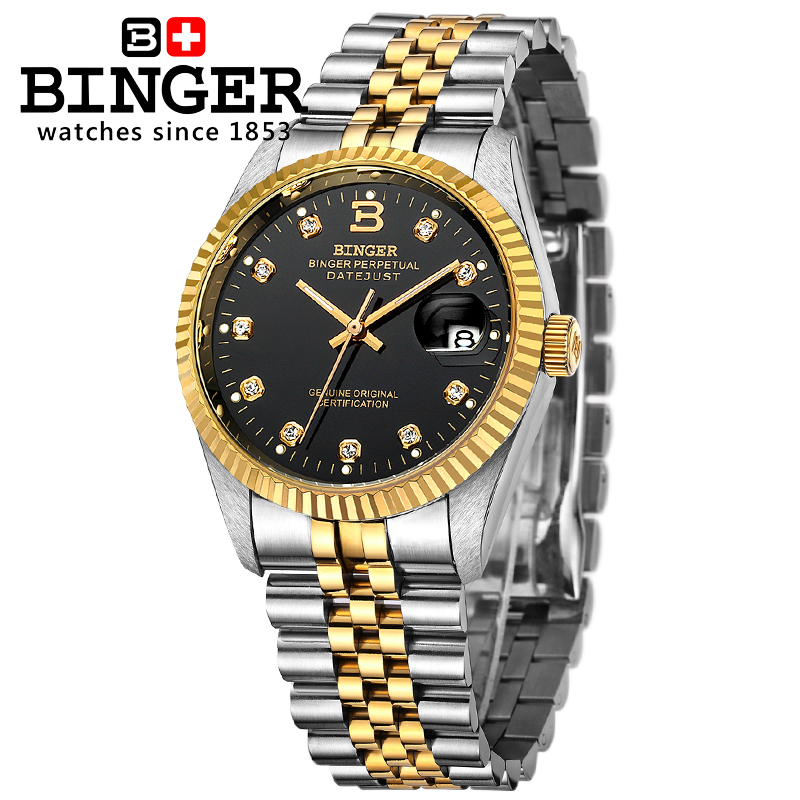 Switzerland BINGER Watch Men Automatic Mechanical Mens Watches Top Brand Luxury Wristwatch Sapphire waterproof reloj hombre 2018